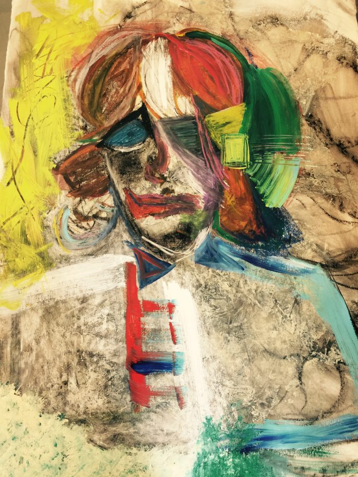 """Self Portrait #3"" Mixed Media on Paper;  TBR PRIVATE COLLECTION"
