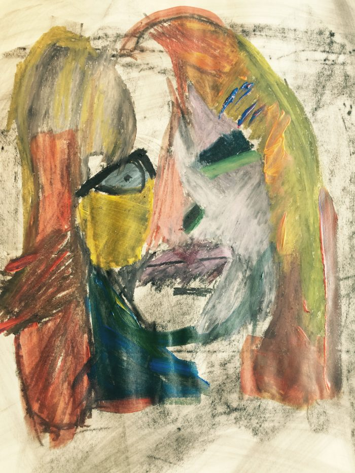 """Self Portrait #2"" Mixed Media on Paper;  TBR PRIVATE COLLECTION"