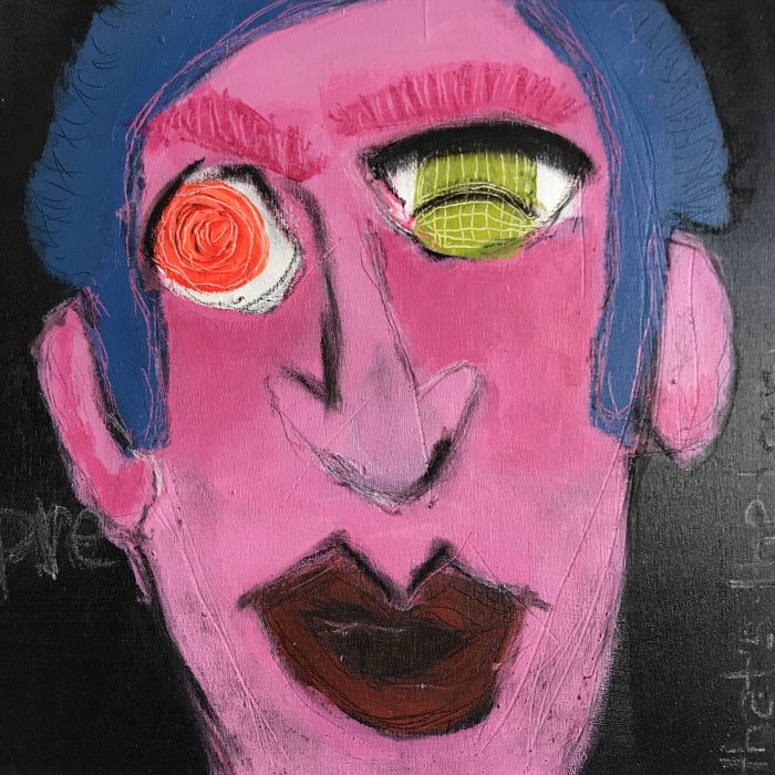 """L'homme du Rivoli"" Mixed Media on Canvas; 12"" x 12""; $180 SOLD"