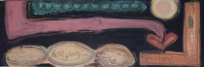 """Continue, je suis ici"" Mixed Media on Canvas; 12"" x 36""; $560"